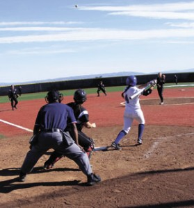 Julio Lara/Daily Journal Callie Pacheco singles to left field for the second of her three hits in Saturday's 8-7 loss to Shasta College.