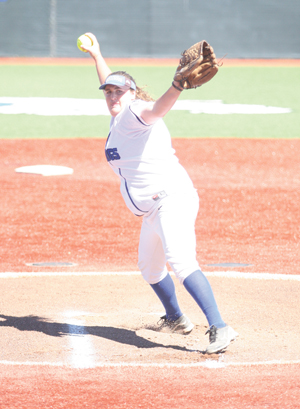 Nathan Mollat/Daily Journal Staff CSM's Michelle Pilster throws a pitch in Thursday's win against Chabot.