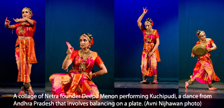 A collage of Netra founder Deepa Menon performing Kuchipudi, a dance from Andhra Pradesh that involves balancing on a plate. (Avni Nijhawan)