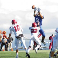 Patrick Nguyen/CSM football Tu'u Liu defends an attempted Sierra pass in CSM Bothman Bulldog Bowl win over Sierra College Saturday. The Bulldogs rolled to a 49-20 win