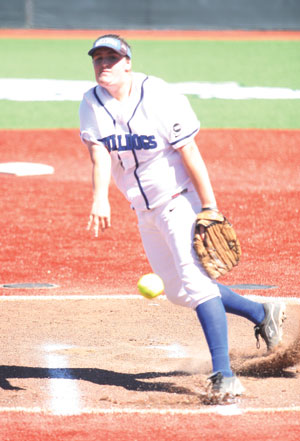CSM pitcher Michele Pilster notched her fifth win of the season in the Bulldogs' 8-0 win over Solano, improving their record to 7-0 on the season. She also drove in a run at the plate