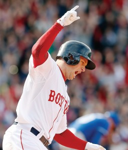Daniel Nava, who lost his spot on the Red Sox roster in 2011, was a hero when he hit a walkoff homer in the first Boston home game following the bombings.  (Photo by Jim Rogash/Getty Images)