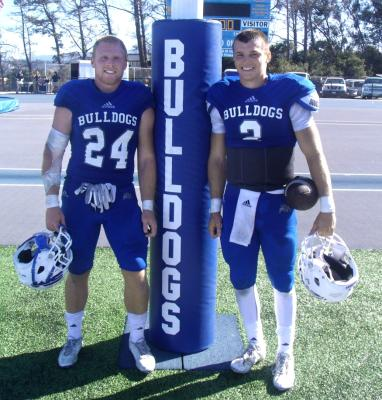 Running back Joey Wood, left, and quarterback Dru Brown were teammates at Los Gatos High. They're now playing as true freshmen for the College of San Mateo, which is 3-0 and ranked No. 2 in the state. Photo by: Vytas Mazeika/Daily News