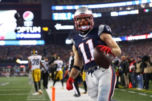 Julian Edelman #11 of the New England Patriots reacts after his touchdown against the Pittsburgh Steelers during the third quarter in the AFC Championship Game at Gillette Stadium on January 22, 2017 in Foxboro, Massachusetts. (Photo by Al Bello/Getty Images)