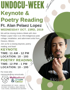 Alan Paleaz Lopez Appears in a Keynote and Poetry Reading on October 23, 2019