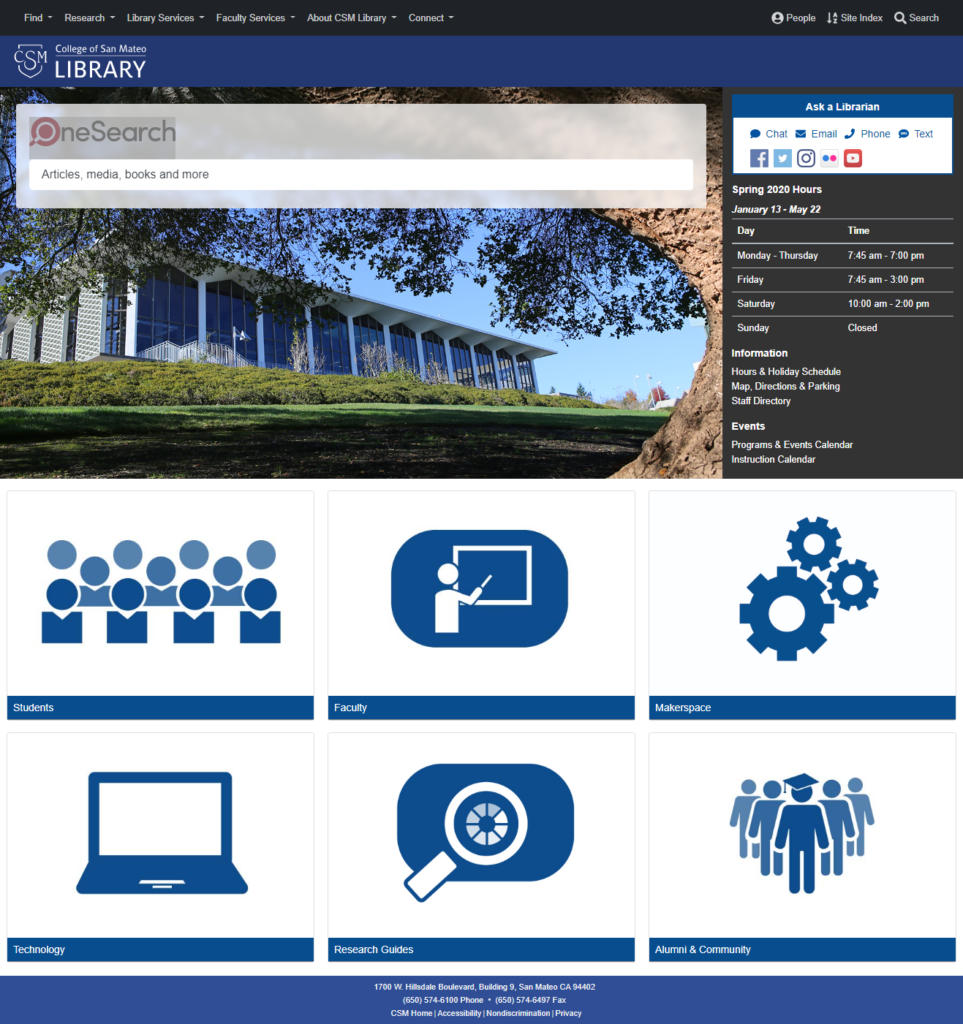 CSM's Library website will debut a new look along with its new search tool in December.