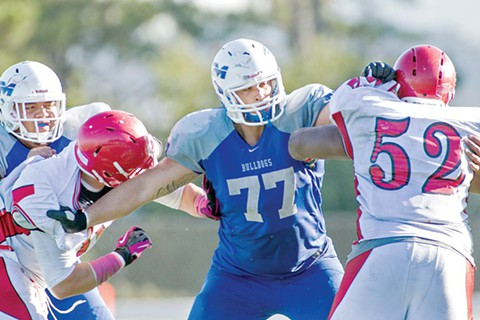 Eric Sun/Special to The S.F. Examiner  - CSM right guard Dominick Jackson (77) had his pick of scholarship offers, but when he committed to Alabama, he was unable to share the joy with his stepbrother.