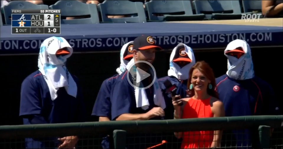 While Scott Feldman discusses spring training, the Astros ninjas make their presence known by crashing the interview