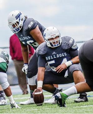 Benji Palu, a 2013 Burlingame alum, evolved from a small offensive guard to a Division I-level center.He will play at Cal next season. Photo by: Patrick Nguyen/CSM Football