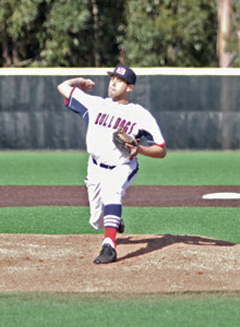 Opening-day starter Cameron Greenough fired three no-hit innings to lead College of San Mateo to a 13-1 win over Cañada Saturday at Bulldog Field. Photo by Terry Bernal/Daily Journal